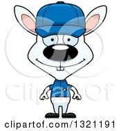 Clipart Of A Cartoon Happy White Rabbit Baseball Coach Royalty Free Vector Illustration
