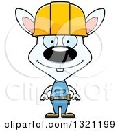 Cartoon Happy White Rabbit Construction Worker