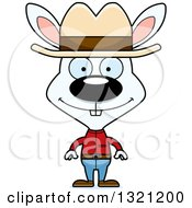 Clipart Of A Cartoon Happy White Rabbit Cowboy Royalty Free Vector Illustration