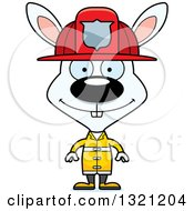 Clipart Of A Cartoon Happy White Rabbit Fire Fighter Royalty Free Vector Illustration