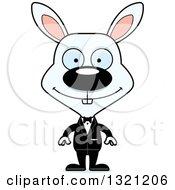 Clipart Of A Cartoon Happy White Rabbit Groom Royalty Free Vector Illustration