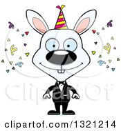 Clipart Of A Cartoon Happy White New Year Party Rabbit Royalty Free Vector Illustration
