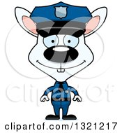 Clipart Of A Cartoon Happy White Rabbit Police Officer Royalty Free Vector Illustration