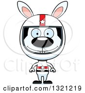 Clipart Of A Cartoon Happy Rabbit Race Car Driver Royalty Free Vector Illustration