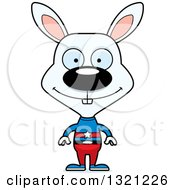 Clipart Of A Cartoon Happy White Rabbit Super Hero Royalty Free Vector Illustration