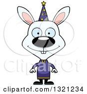 Clipart Of A Cartoon Happy Rabbit Wizard Royalty Free Vector Illustration