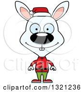 Clipart Of A Cartoon Happy White Rabbit Christmas Elf Royalty Free Vector Illustration