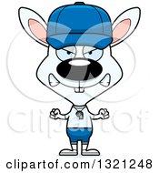 Clipart Of A Cartoon Mad White Rabbit Baseball Coach Royalty Free Vector Illustration