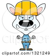 Cartoon Mad White Rabbit Construction Worker