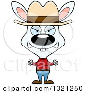 Clipart Of A Cartoon Mad White Rabbit Cowboy Royalty Free Vector Illustration