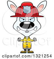 Clipart Of A Cartoon Mad White Rabbit Fire Fighter Royalty Free Vector Illustration