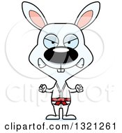Clipart Of A Cartoon Mad Karate Rabbit Royalty Free Vector Illustration
