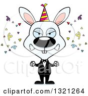 Clipart Of A Cartoon Mad White New Year Party Rabbit Royalty Free Vector Illustration