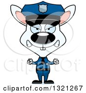 Clipart Of A Cartoon Mad White Rabbit Police Officer Royalty Free Vector Illustration