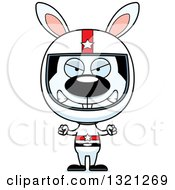 Clipart Of A Cartoon Mad Rabbit Race Car Driver Royalty Free Vector Illustration