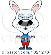 Clipart Of A Cartoon Mad White Rabbit Super Hero Royalty Free Vector Illustration