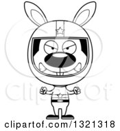 Lineart Clipart Of A Cartoon Black And White Mad Rabbit Race Car Driver Royalty Free Outline Vector Illustration