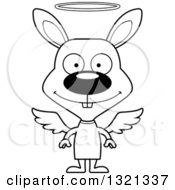 Lineart Clipart Of A Cartoon Black And White Happy Rabbit Angel Royalty Free Outline Vector Illustration