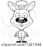 Lineart Clipart Of A Cartoon Black And White Happy Rabbit Chef Royalty Free Outline Vector Illustration