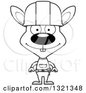 Cartoon Black And White Happy Rabbit Construction Worker