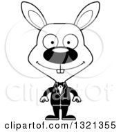 Lineart Clipart Of A Cartoon Black And White Happy Rabbit Groom Royalty Free Outline Vector Illustration