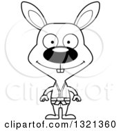 Lineart Clipart Of A Cartoon Black And White Happy Karate Rabbit Royalty Free Outline Vector Illustration
