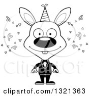 Lineart Clipart Of A Cartoon Black And White Happy New Year Party Rabbit Royalty Free Outline Vector Illustration