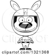 Lineart Clipart Of A Cartoon Black And White Happy Rabbit Race Car Driver Royalty Free Outline Vector Illustration