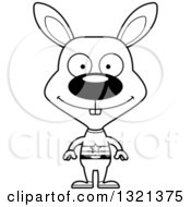 Lineart Clipart Of A Cartoon Black And White Happy Rabbit Super Hero Royalty Free Outline Vector Illustration