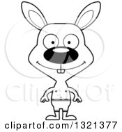 Lineart Clipart Of A Cartoon Black And White Happy Rabbit Swimmer Royalty Free Outline Vector Illustration