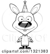 Lineart Clipart Of A Cartoon Black And White Happy Rabbit Wizard Royalty Free Outline Vector Illustration