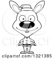 Lineart Clipart Of A Cartoon Black And White Happy Rabbit Christmas Elf Royalty Free Outline Vector Illustration