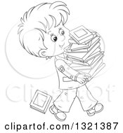 Cartoon Black And White School Boy In A Uniform Walking With A Stack Of Toppling Books