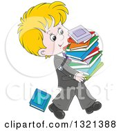 Clipart Of A Cartoon Blond White School Boy In A Uniform Walking With A Stack Of Toppling Books Royalty Free Vector Illustration by Alex Bannykh