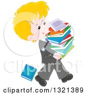 Cartoon Blond Caucasian School Boy In A Uniform Walking With A Stack Of Toppling Books