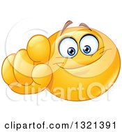 Clipart Of A Cartoon Yellow Emoticon Smiley Face Pointing Outwards At You Royalty Free Vector Illustration