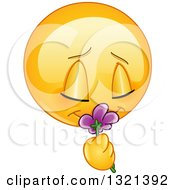Clipart Of A Cartoon Yellow Emoticon Smiley Face Smelling A Flower Royalty Free Vector Illustration