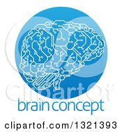 Clipart Of A Circuit Board Artificial Intelligence Computer Chip Brain In A Gradient Blue Circle Over Sample Text Royalty Free Vector Illustration