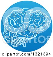 Clipart Of A Circuit Board Artificial Intelligence Computer Chip Brain In A Gradient Blue Circle Royalty Free Vector Illustration