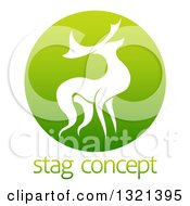 Clipart Of A Silhouetted Stag Deer Buck In A Gradient Green Circle Over Sample Text Royalty Free Vector Illustration