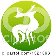 Clipart Of A Silhouetted Stag Deer Buck In A Gradient Green Circle Royalty Free Vector Illustration by AtStockIllustration