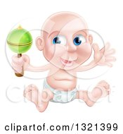 Clipart Of A Bald Blue Eyed White Baby Boy Sitting In A Diaper And Shaking A Rattle Royalty Free Vector Illustration by AtStockIllustration