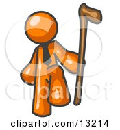 Orange Man Holding A Cane Clipart Illustration