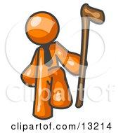 Orange Man Holding A Cane