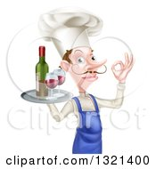 Clipart Of A White Male Chef With A Curling Mustache Gesturing Okay And Holding A Tray With Red Wine Royalty Free Vector Illustration