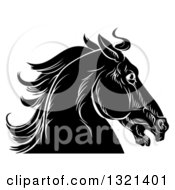 Clipart Of A Black And White Sketched Horse Head In Profile Royalty Free Vector Illustration