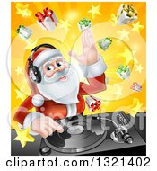 Clipart Of A Happy Santa Claus Dj Wearing Headphones And Mixing Christmas Music On A Turntable Over A Starburst And Gifts Royalty Free Vector Illustration