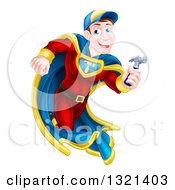 Clipart Of A Happy Brunette Caucasian Carpenter Worker Man Super Hero Running With A Hammer Royalty Free Vector Illustration