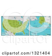 Clipart Of Maps Of Continental Hawaiian And Alaskan American Territories And Big Cities Royalty Free Vector Illustration by AtStockIllustration