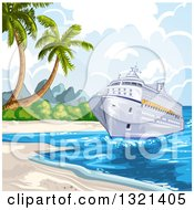 Clipart Of A Cruise Ship At A Beach Royalty Free Vector Illustration